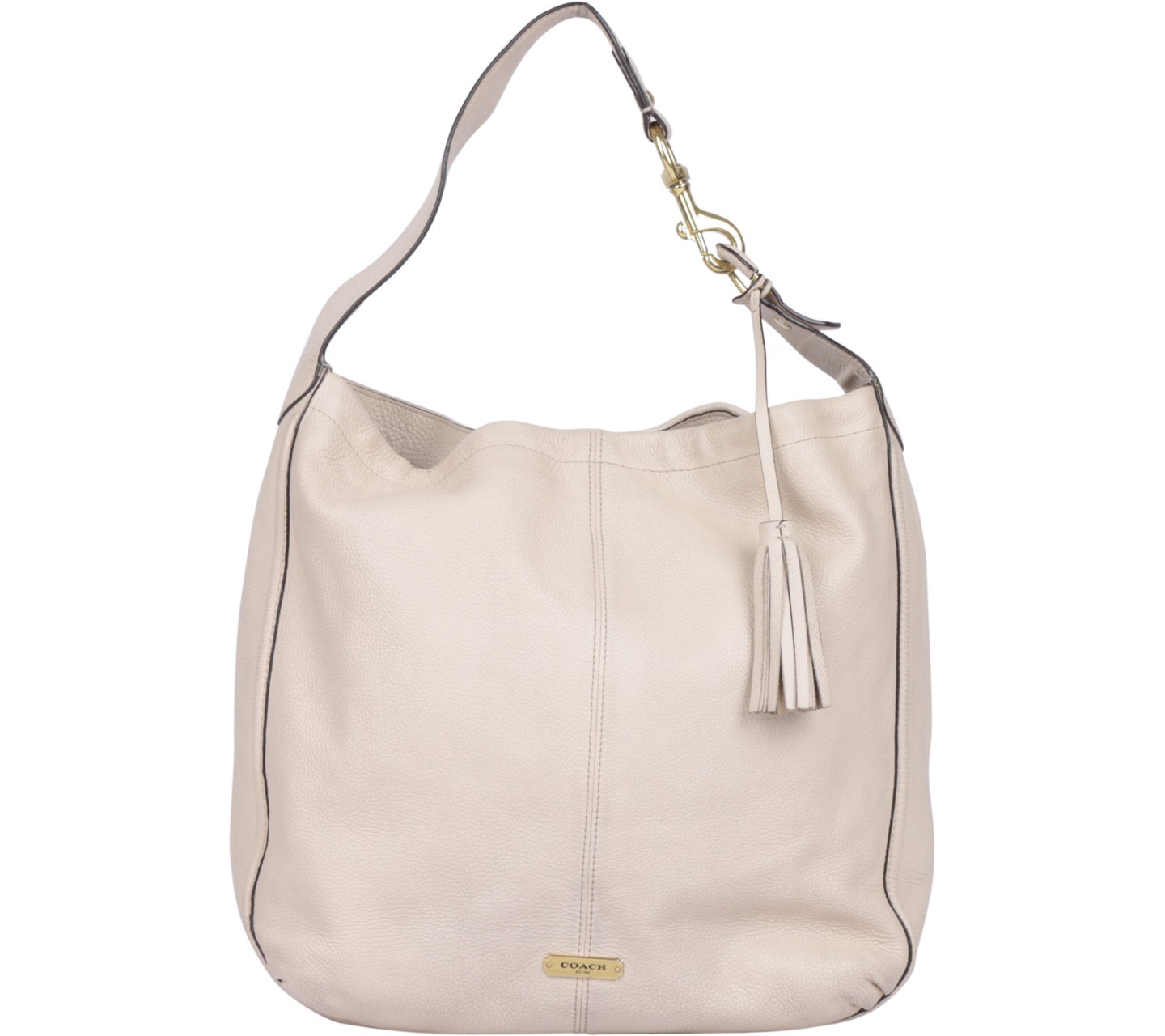 Cream Avery Leather Hobo Shoulder Bag