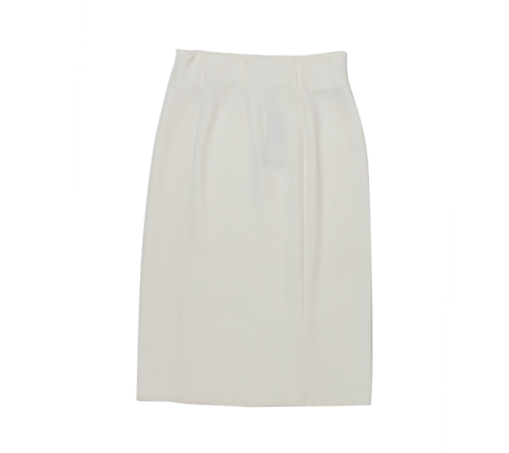 White Straight Midi Skirt