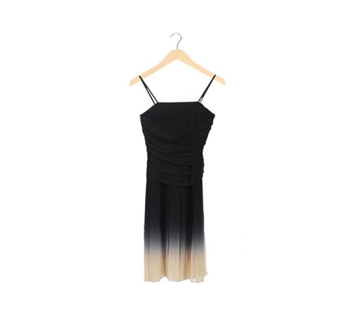Black Ombre Silk Camisole Pleated Midi Dress