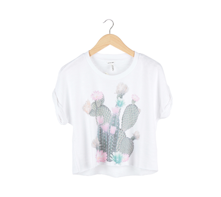 White Cactus Cropped T-Shirt