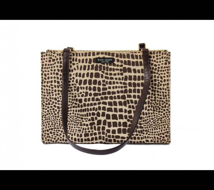Kate Spade Chocolate Giraffe Shopper Canvas Shoulder Bag