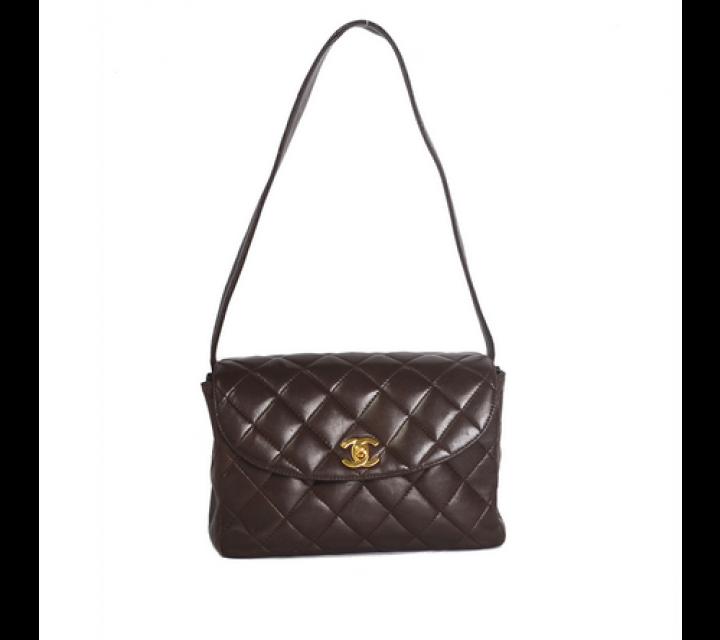 Chanel Brown Vintage Caviar Leather Shoulder Bag