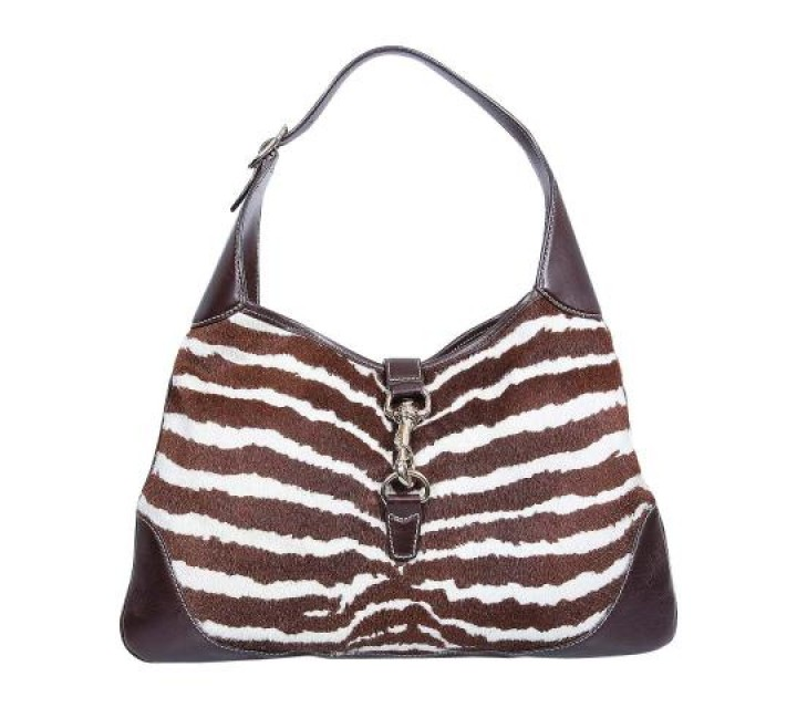 Gucci Brown And White Zebra Printed Jackie O Tote Bag