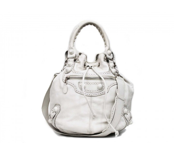 Balenciaga White Bucket  Shoulder Bag