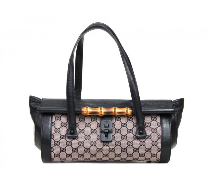 Gucci Black And Brown Monogram Tote Bag