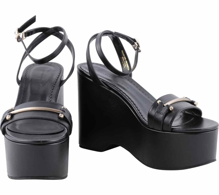 Charles and Keith Black Ankle Strap Wedges