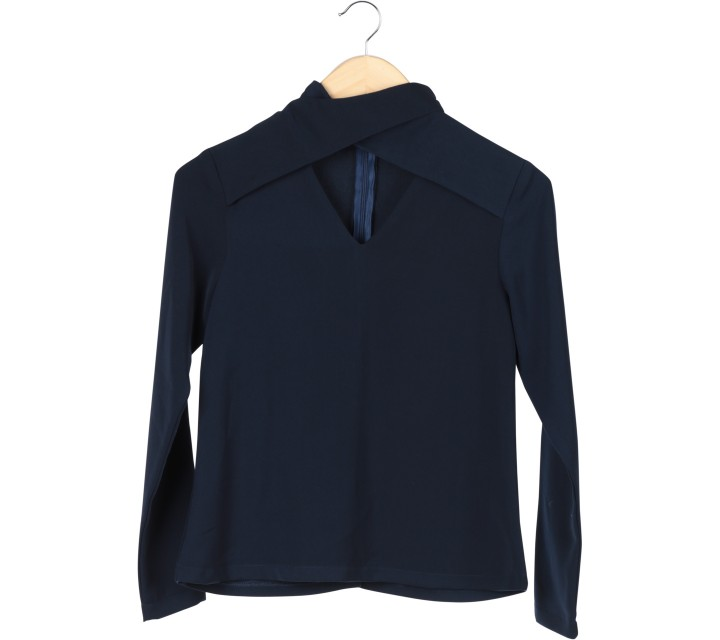 Love + Flair Dark Blue Cut Out Blouse