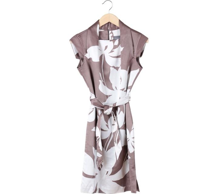 Vesperine Brown And White Leaf Mini Dress