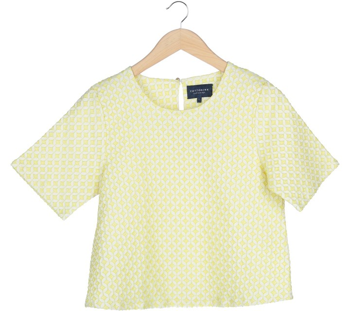 Cotton Ink Yellow Textured Blouse