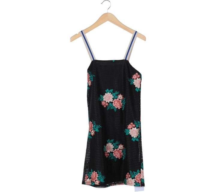 Zara Black And Multi Colour Floral Sleeveless Midi Dress