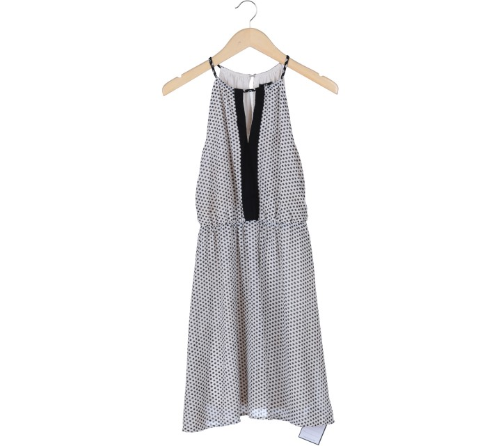 H&M Black And Off White Polka Dot Sleeveless Mini Dress