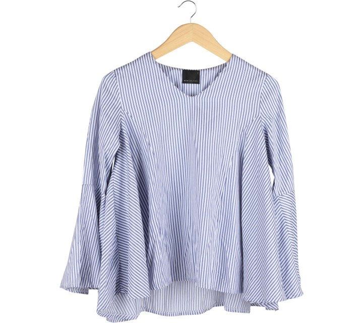 ATS The Label Blue And White Striped Blouse