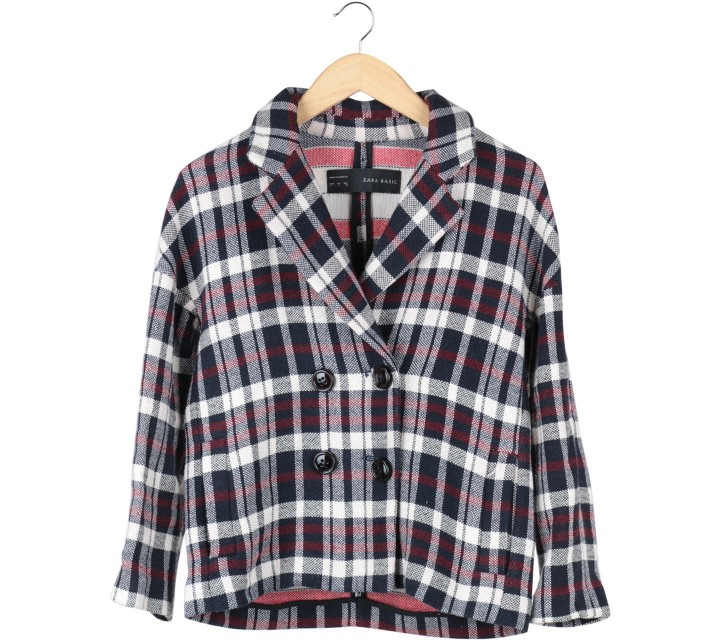 Zara Multi Colour Plaid Coat