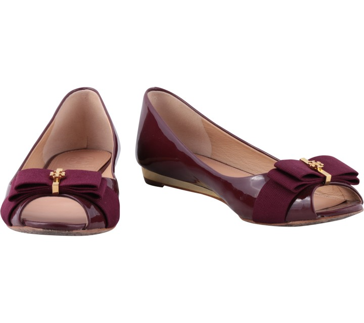 Tory Burch Purple Trudy Open Toe Wedges