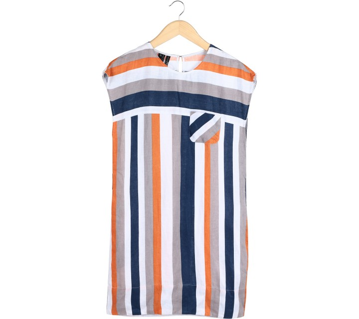 Mango Multi Colour Striped Mini Dress