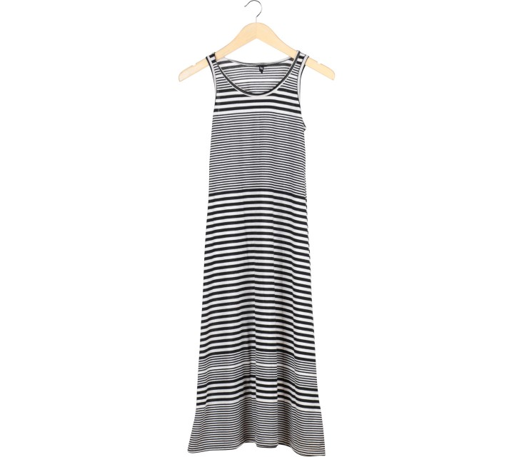 H&M Black And White Striped Sleeveless Long Dress