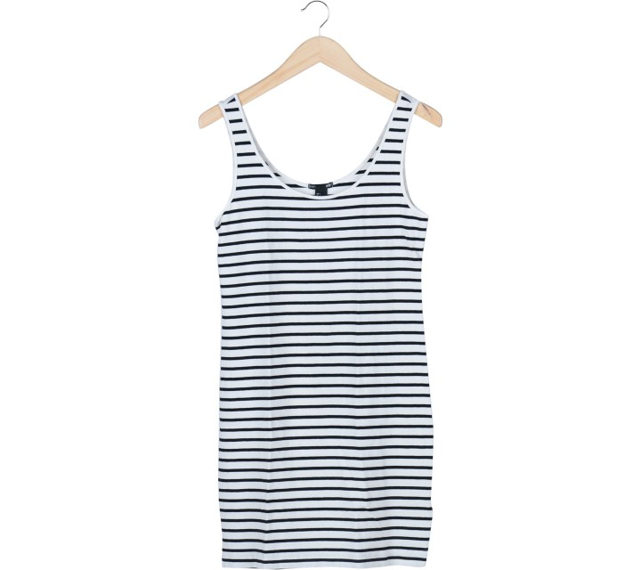 H&M White And Black Striped Mini Dress