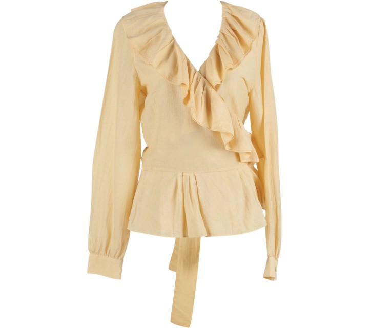 Kenneth Cole Yellow Wrap Ruffles Blouse