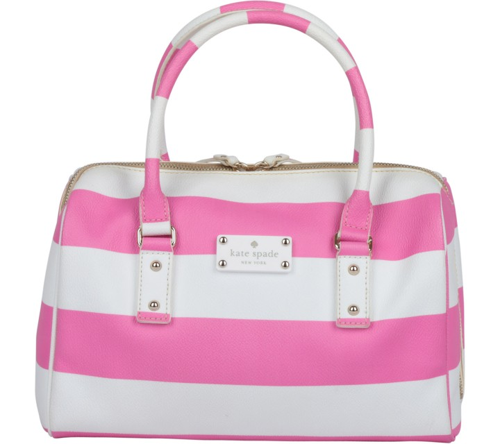 Kate Spade Pink And White Striped Handbag
