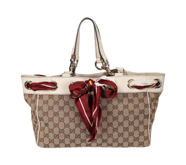 Gucci Brown And White Positano Scarf Shoulder Bag