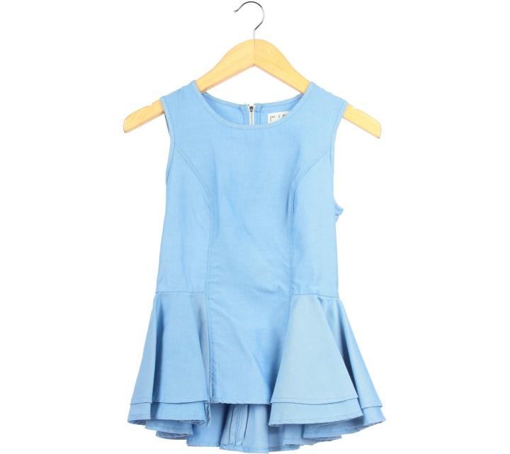 (X)SML Blue Peplum Sleeveless
