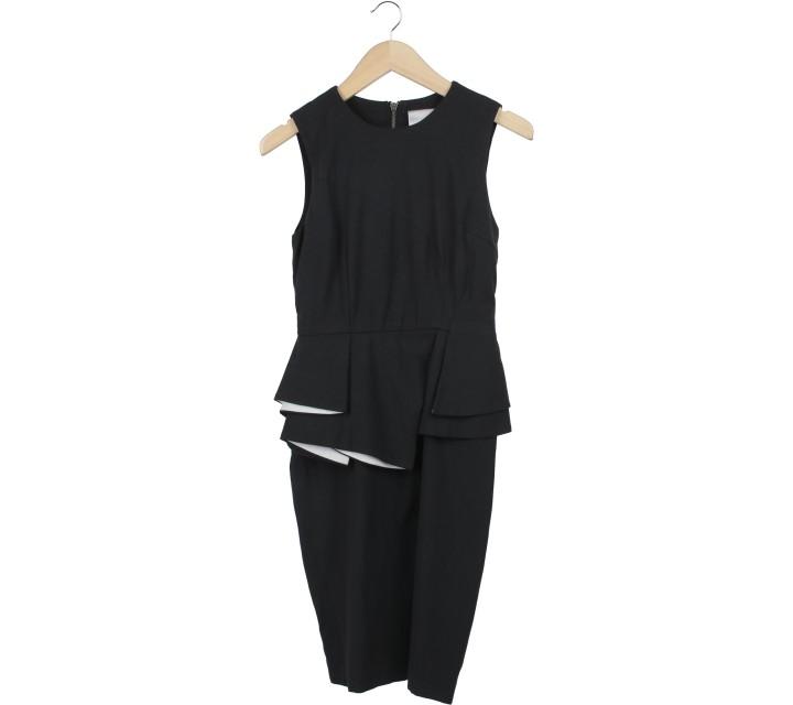 Ciel Black Peplum Midi Dress