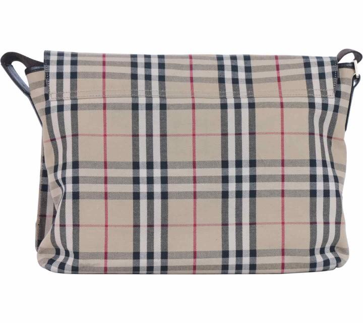 Burberry Cream Plaid Canvas Sling Bag