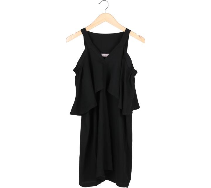 Cotton Ink Black Off Shoulder  Mini Dress