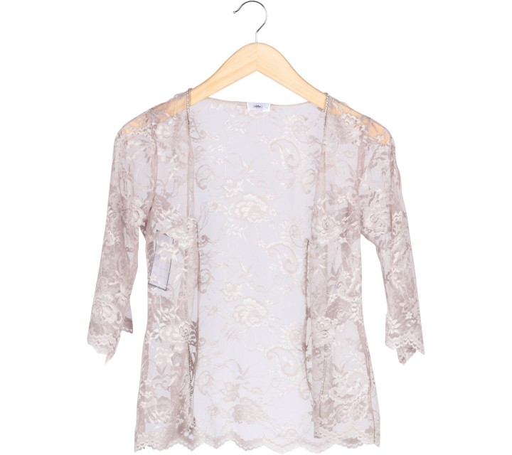 Cream Lace Beaded Outerwear