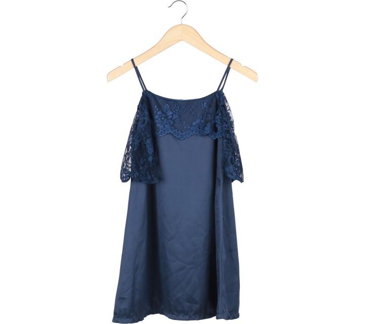 Dark Blue Off Shoulder Combi Lace Mini Dress