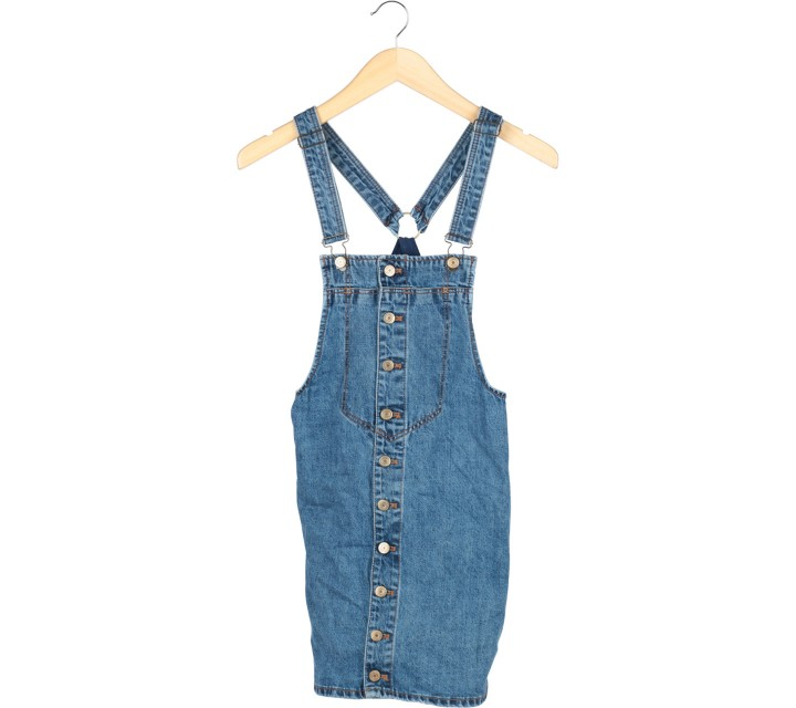 Zara Blue Denim Sleeveless Mini Dress