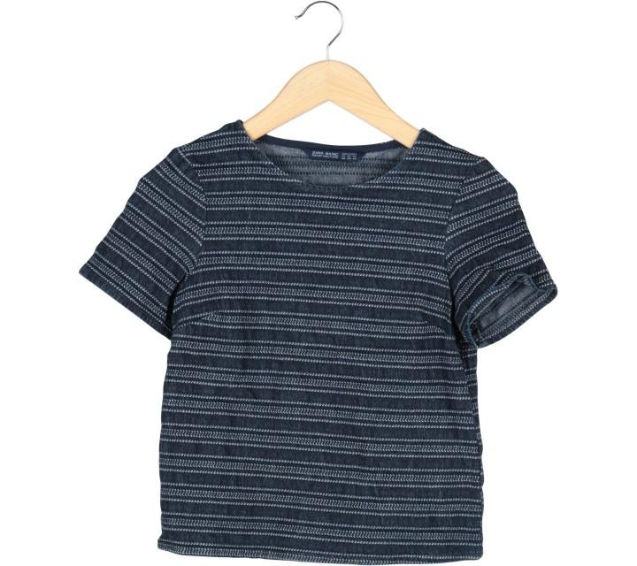 Zara Dark Blue Patterned Blouse