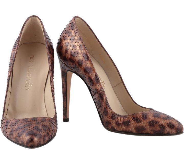 Max Kibardin Brown Leopard Leather Heels