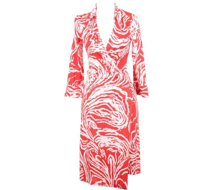 Diane Von Furstenberg Red And Off White Wrap Midi Dress