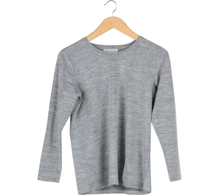 Cotton Ink Grey Elbow Patch Blouse