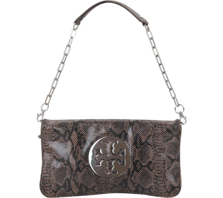 Tory Burch Brown Snakeskin Leather Shoulder Bag