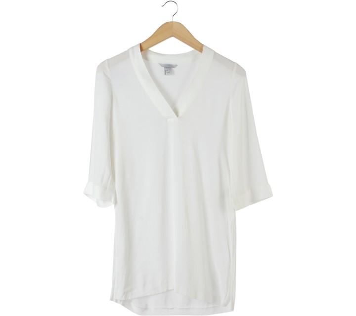 H&M White Slit Blouse