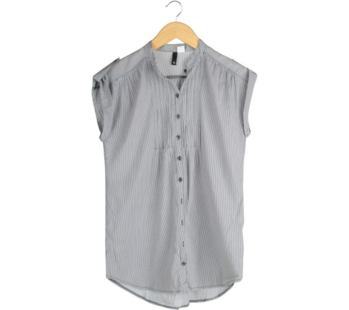 Divided Dark Grey And White Striped Blouse