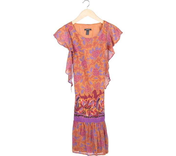 Mango Brown Floral Midi Dress