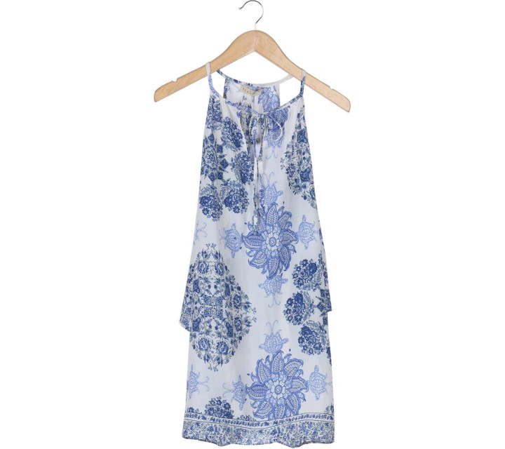N.Y.L.A Blue And White Floral Cold Shoulder Mini Dress
