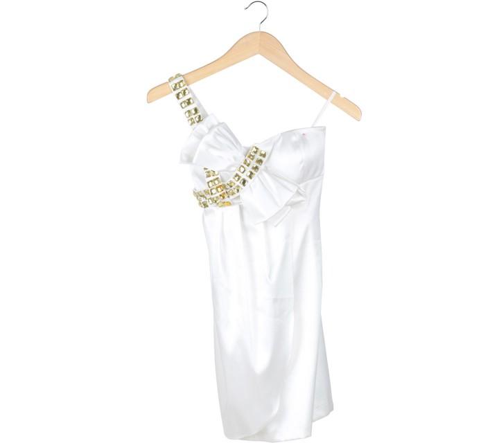 BCBG Maxazria Off White One Shoulder  Mini Dress