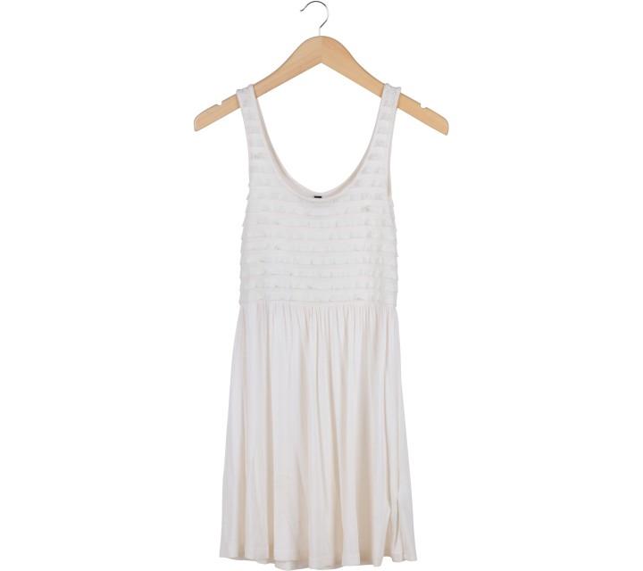 Divided Off White Ruffle Mini Dress