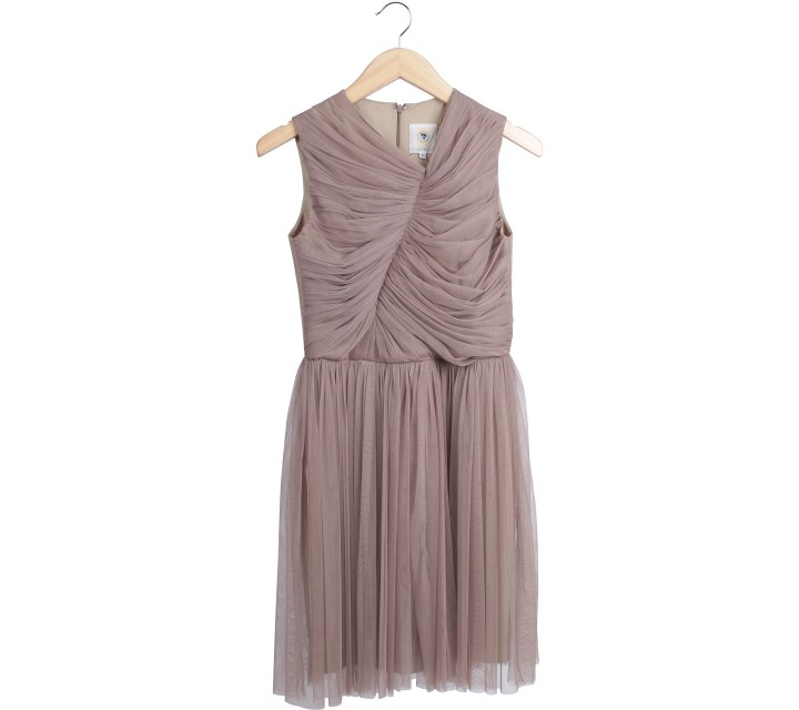 Ciel Brown Tulle Mini Dress