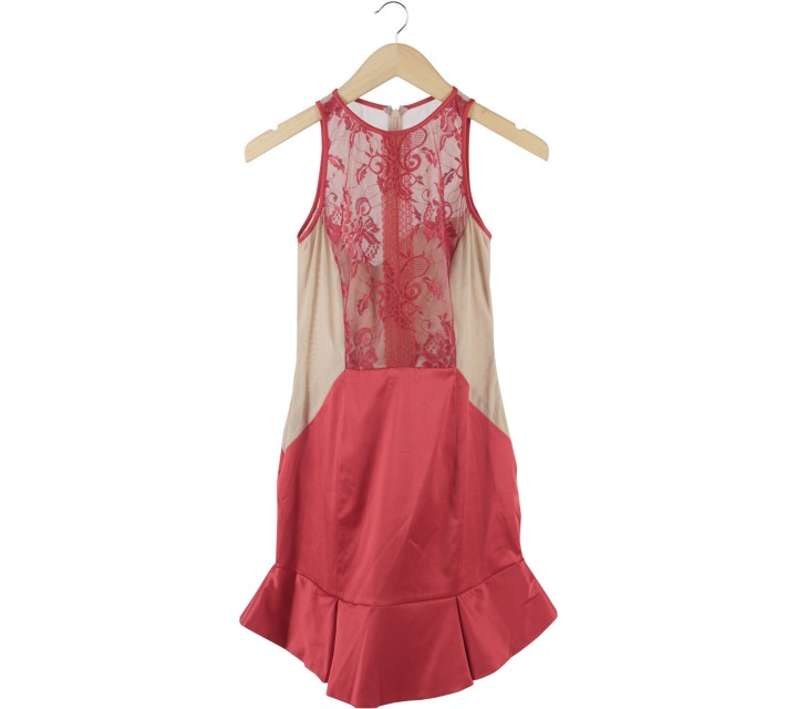 Ciel Red And Cream Tulle Mini Dress
