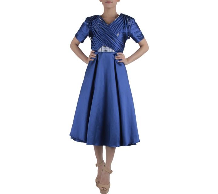 Ernesto Abram Blue And White Midi Dress
