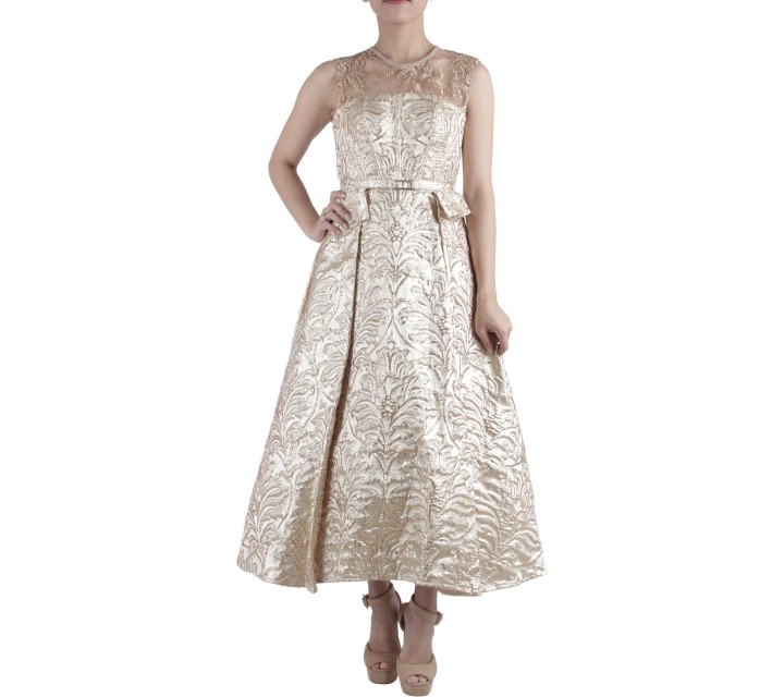 Ernesto Abram Gold Sequin Midi Dress