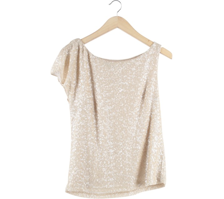 Zara Cream Sequins Blouse