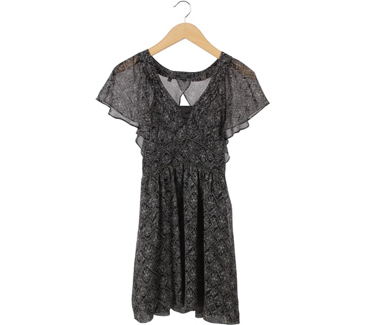 Guess Black And Cream Floral Cut Out Mini Dress