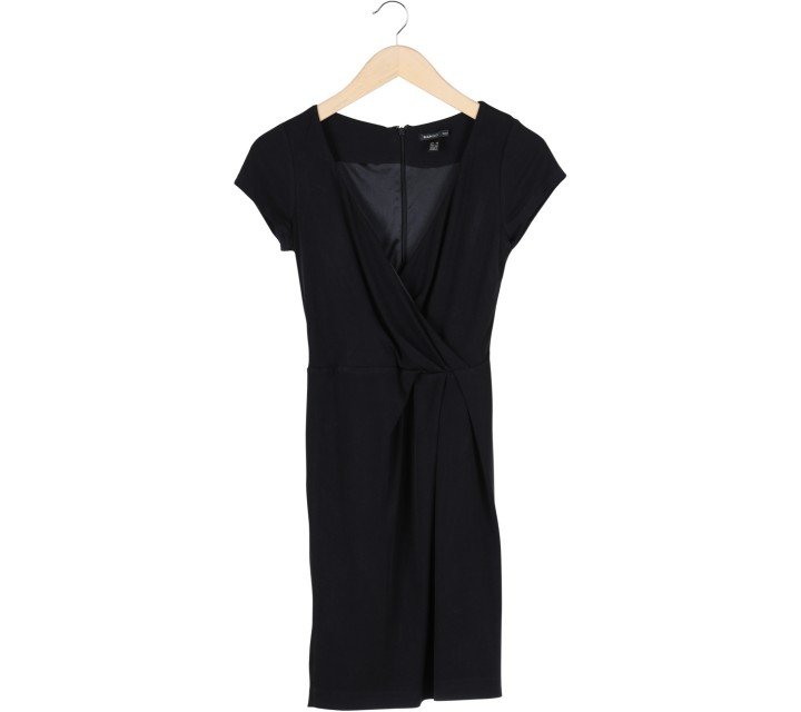 Mango Black Wrap Mini Dress