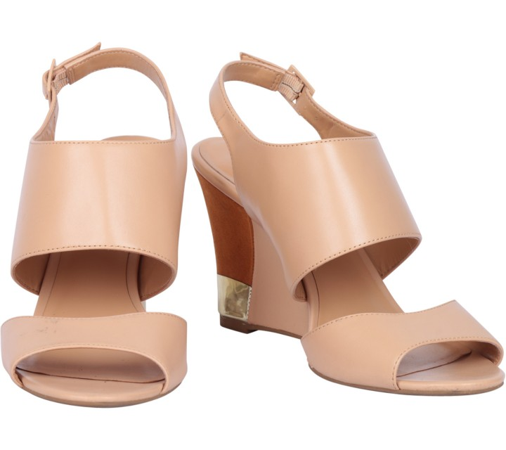 Charles and Keith Cream Open Toe Sandals Wedges